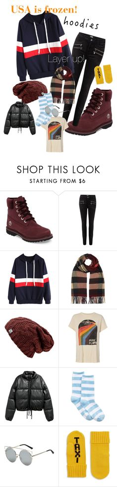 """Pile on the Layers!"" by unknownlinguist ❤ liked on Polyvore featuring Timberland, Paige Denim, Burberry, MadeWorn, Jakke, HOT SOX, Kate Spade and Hoodies"