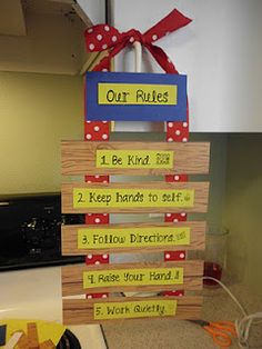 Classroom rules. I like how the teacher created her own classroom rules chart for the class. Very creative!