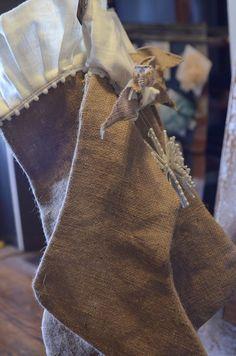 burlap stockings with ruffles Burlap Projects, Burlap Crafts, Fabric Crafts, Craft Projects, Craft Ideas, Christmas Projects, Christmas Holidays, Christmas Decorations, Christmas Ideas
