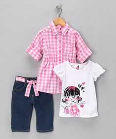 Take a look at this Pink Gingham Jeans Set - Infant, Toddler & Girls by Nannette Girls on #zulily today!