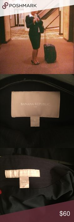 Banana Republic Navy pin-striped skirt suit Worn once for an interview (and I got the job ;). Double button jacket is a size 8 and the skirt is a size 10. I'm 5'4 for reference. Nothing wrong with it just no use for the suit anymore. Banana Republic Skirts Skirt Sets
