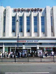 Art deco Woolworths store, Brixton Road, Brixton, London Vintage London, Old London, Art Deco Buildings, London Places, South London, London Calling, Historical Pictures, Brixton, British History