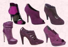 Purple Shoes - Purple Black Suede Shoe Boots £74.99 - River Island.  Moda in Pelle - Cutie Purple - £80 Suede Peep Toe Shoe Boot. Wallis Autumn Winter 09 Purple Patent & Suede Boot. Lower Row -  Faith Footwear Sorena, Leather Stiletto Platform Boot - Back Buckle Strap Detail £115/€145.  Littlewoods - Love Label Mandy Suede Shoe Boot £36.   Magenta Peep Toe Shoe Boot - Oasis.