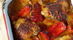 Jamie Oliver 30-minute menu: piri piri chicken, arugula salad, sweet potato mash, and quick Portuguese tarts.