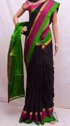 Uppada Black color Silk Saree with green border by UppadaPattu on Etsy