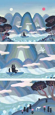 일월오봉냐옹도 Sun, Moon, cat and Five Peaks. Art And Illustration, Mountain Illustration, Graphic Design Illustration, Korean Art, Visual Development, Naive Art, Cat Art, Amazing Art, Concept Art