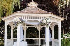 Outdoor Wedding Gazebo, Gazebo Wedding Decorations, Prom Decor, Outdoor Ceremony, Gazebo Ideas, Garden Wedding, Small Wedding Bouquets, Small Weddings, Lilac Wedding