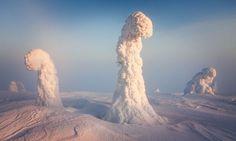 Le froid polaire recouvre une forêt pour la transformer en un magnifique paysage extraterrestre #Laponie