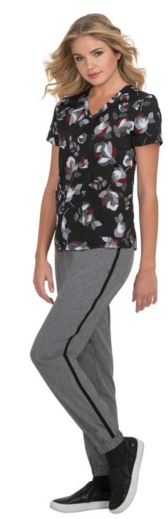 Leslie Top Athletic-inspired breathable mesh Sporty v-neck styling Designed to keep you cool and dry Two front pockets Side slits Length size Small: polyester Spandex SKU: Koi Scrubs, Jumpsuit, Sporty, V Neck, Rose, Fashion Design, Dresses, Style, Overalls