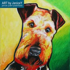 Dog painting dog art commission pet painting, Halo, an Airedale Terrier https://www.etsy.com/shop/ARTbyJaniceY