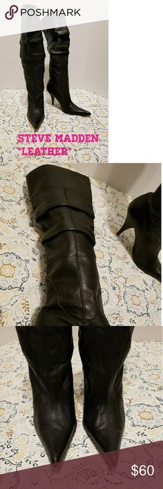 STEVE MADDEN LEATHER BOOTS STEVE MADDEN LEATHER Boots Size 7.5. BEAUTIFUL!!! So sad they don't fit me anymore, I want to keep them soooo badly!! 😢 no flaws but take a look at the toes, VERY VERY SLIGHT fading of the black but will look brand new if you polish them! Check out my other items to bundle and save on shipping! Offers accepted. I ship same day! Steve Madden Shoes