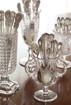 Don't forget your silver when undertaking spring cleaning! Get expert tips for polishing your prized sterling to a lustrous shine with our… Vintage Silver, Antique Silver, Antique Glass, Objets Antiques, Victoria Magazine, Boho Home, Silver Spoons, Silver Trays, Silver Cutlery