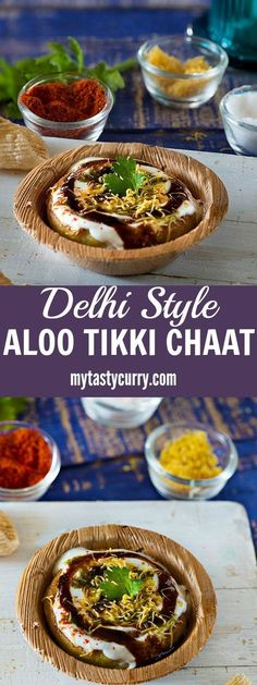 Aloo tikki is a famous street food of Delhi. A crispy and tasty Aloo tikki chaat is popular in North India. It is made with boiled potatoes and served with a smattering of various sweet and tangy chutneys along with various spice powders. Mumbai Street Food, Best Street Food, Indian Street Food, Vegan Indian Recipes, Vegetarian Recipes, Cooking Recipes, Ethnic Recipes, Tasty Food Recipes, Aloo Recipes