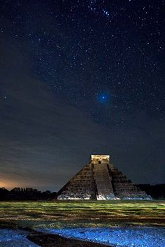 Starry sky over Chichen Itza, Mexico. Chichen Itza at Night by Alex Korolkovas Places Around The World, Oh The Places You'll Go, Places To Travel, Places To Visit, Around The Worlds, Travel Destinations, Chichen Itza Mexico, Foto Picture, Mexico Travel