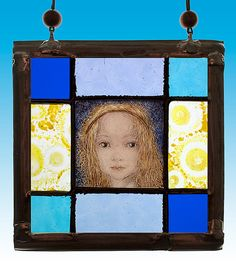Starchild, stained glass suncatcher. For sale at the Etsy shop of Stained Glass Elements. Sterrekind  Glas-in-lood portretje  11,5 x 11,5 cm    My Angels are my consolers, leaders, companions, guards ---- Sulamith Wülfing    De