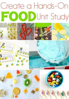 Create a hands-on food unit study with these fun activities and printables! From gardens to food groups kids will love these food activities! Science, math, literacy, sensory and more! via @lifeovercs