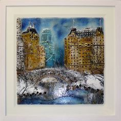 'Central Park' by Edel Taggart. This piece has been hand crafted, fused & framed by Spires Art in Omagh.  Available in size 34in X 34in.