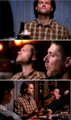 11x12 Don't You Forget About Me [gifset] - Sam and Dean chowing down - Supernatural - loved watching them enjoy a home-cooked meal!