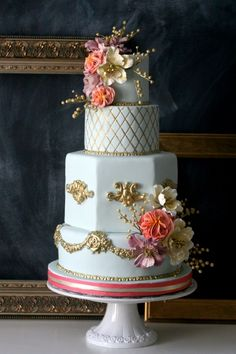 Mint, gold and coral Parisian rococo wedding cake
