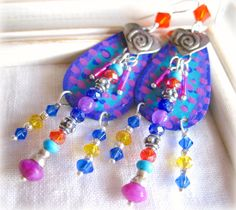 Funky Hand Painted Tear Drop Chandelier Earrings...fun design!