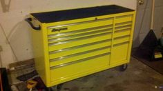 Yellow Snap on Tool box yellow! AND snap on! Doesn't get any better than this...unless its full of porter cable and snap on tools..a few craftsman