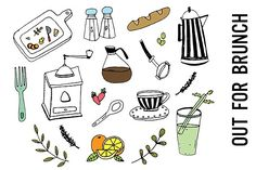 Brunch Food Doodle Clipart by Pepper on @creativemarket