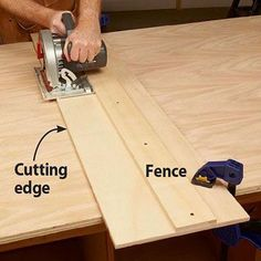 Woodworking Jigs Get better cuts from any circular saw: Make your own guide - Projects, Tips, Tools Woodworking Techniques, Woodworking Projects Diy, Diy Wood Projects, Woodworking Tools, Woodworking Furniture, Woodworking Jigsaw, Woodworking Education, Woodworking Magazines, Intarsia Woodworking