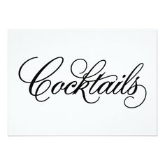 Classical | Cocktails Wedding Sign Card