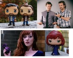 These 3 custom Funko Pops I made are heading to the Nov. 2015 SPN Pasadena Convention to be given to Rob Benedict, Richard Speig. The 3 Rs ~ Rob, Rich and Rowena Funko Pop Supernatural, Supernatural Fans, Pop Custom, Custom Funko Pop, Nerd Room, Gamer Room, The 3 Rs, Harry Potter Movies, Angels And Demons