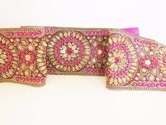 Embroidered belt  bridal sash sequin zari work handmade  pink  satin ribbon #Handmade
