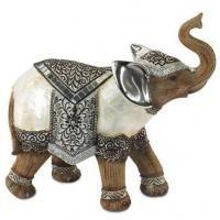 ADORNO #Elefante Resina 21 x 22 cm aprox. (Motivo Plateado, Nacar +...