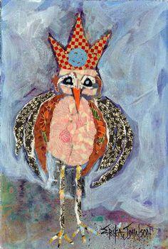 Mock KING Bird-2-Giclee Artist Print - Bird Art 7 1/2 by 11 in image  9 1/2 x 13 in paper size - mixed media art