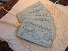Baby Boy Vintage Inspired Postcard Tags Set of 6 $4.50 #thecraftstar #handstamped #blue #itsaboy #tags #babyshower #favors #thankyou #gifttags