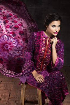 Silk Velvet Collection VL-31  Shop Now: https://www.gulahmedshop.com/products/purple-silk-velvet-vl-31