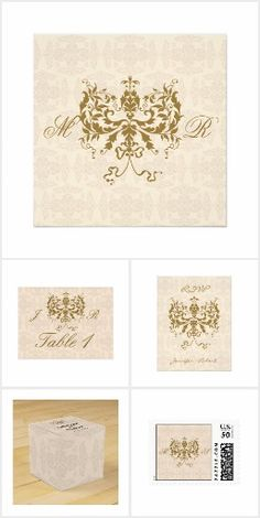 Cream and Gold Damask Wedding Invitation Text, Invitations, Damask Wedding, Ecru Color, Cream And Gold, Classic Style, Initials, Reception, Create