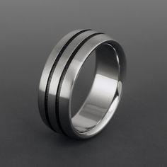Black Titanium Wedding Ring - Flat Top - Beveled Edges - Two Centered Black Pinstripes. $129.00, via Etsy.