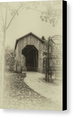 Bridge Canvas Print featuring the photograph Chambers Covered Bridge by Marnie Patchett