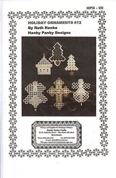 Hardanger Embroidery Pattern Holiday Ornaments | eBay