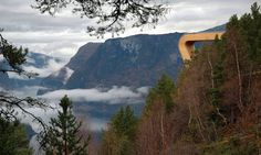 Aurland Lookout - A thin pane of glass keeps visitors from sliding off this futuristic skywalk
