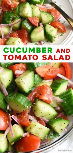 This healthy Cucumber Tomato Salad recipe is a classic summer staple that is a potluck favorite. Made with a simple dressing that includes apple cider vinegar, dill, and seasonings. Tomato Salad Recipes, Cucumber Recipes, Diet Recipes, Cooking Recipes, Healthy Recipes, Simple Salad Recipes, Cucumber Ideas, Recipies, Cucumber Salad Vinegar