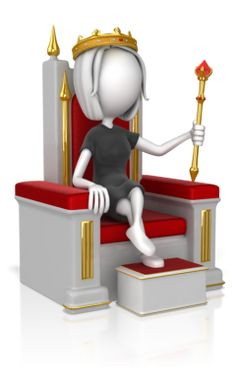 3d girl queen on throne with sceptre