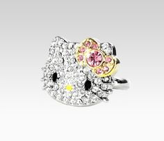 Her hello kitty ring! Hello Kitty My Melody, Sanrio Hello Kitty, Hello Kitty Jewelry, Hello Kitty Birthday, Cat Ring, Colored Diamonds, Jewelery, Jewelry Accessories, Sephora