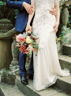 Wedding Bouquets : Bold berry and blush wedding bouquet: www. Photography: Nastia V. Lace Wedding Dress, Flower Bouquet Wedding, Wedding Dresses, Bohemian Wedding Theme, Bohemian Bride, Brunch Wedding, Groom Attire, Wedding Trends, Wedding Ideas