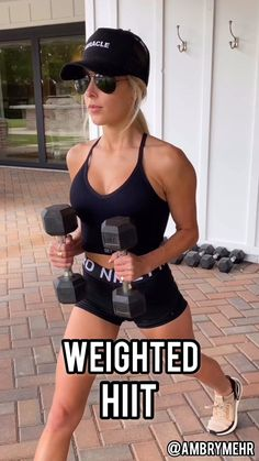 This workout combines HIIT moves with strength exercises. These movements work your full body. Sculpt and tone your body anywhere. Fitness Workouts, Gym Workout Videos, Fitness Workout For Women, Body Fitness, Fitness Tips, Fitness Motivation, Workouts Hiit, Tabata, Cardio