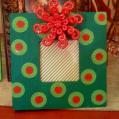 Hand painted Christmas picture frame