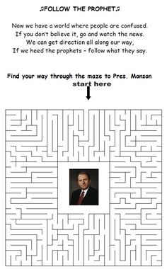 "LDS Games - ""Follow The Prophet"" Maze Free Printable"
