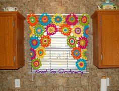 Window Valance Flower Valance Kitchen Curtain by KnotsaPlenty