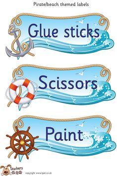 Teachers Pet - Pirate/beach classroom labels. - FREE Classroom Display Resource - EYFS, KS1, KS2, pirate, beach, labels, seaside