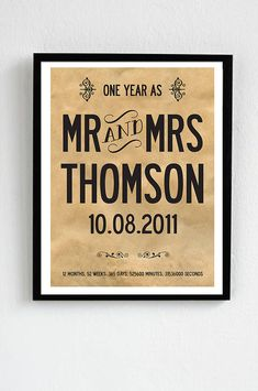 Personalised 1st Anniversary Print