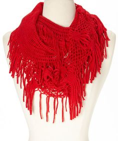 Red Fringe Infinity Scarf